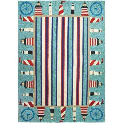 Lighthouse Brigade Blue 8 ft. x 10 ft. Indoor/Outdoor Area Rug