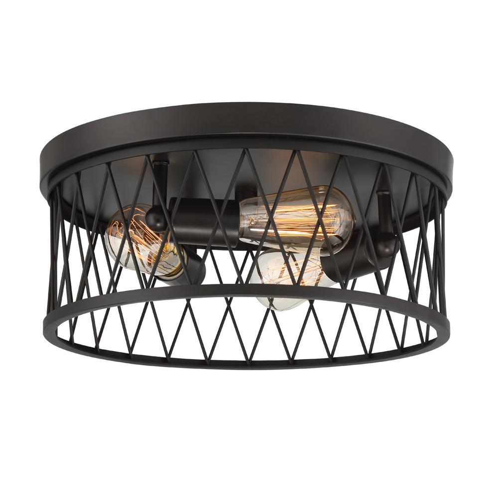 Arris 3-Light Vintage Bronze Interior Flushmount
