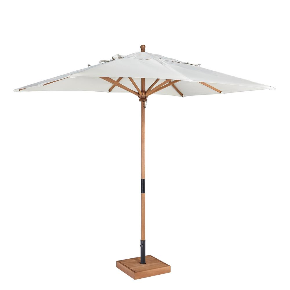 Bali Hai 9 ft. Wooden Patio Umbrella in Off-White Polyester Fabric