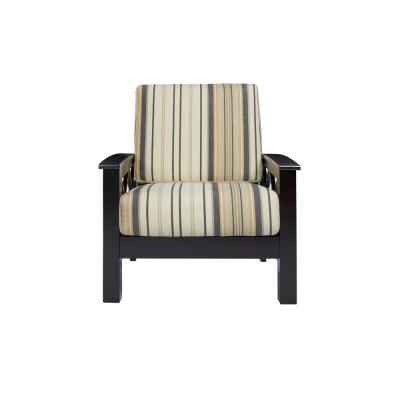 Virginia X-Design Dark Espresso Arm Chair with Exposed Wood Frame in Brown  and  Black Stripe