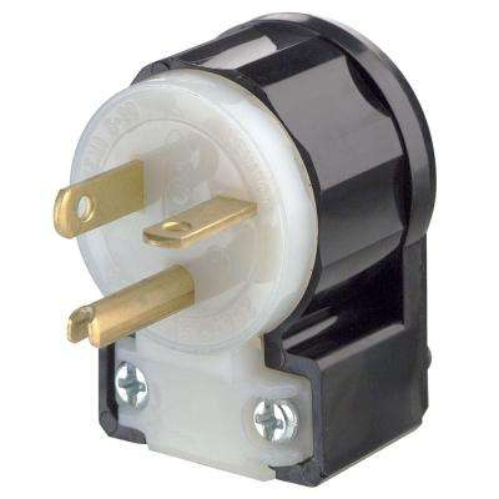 20 Amp 125-Volt Straight Blade Grounding Angle Plug, Black/White