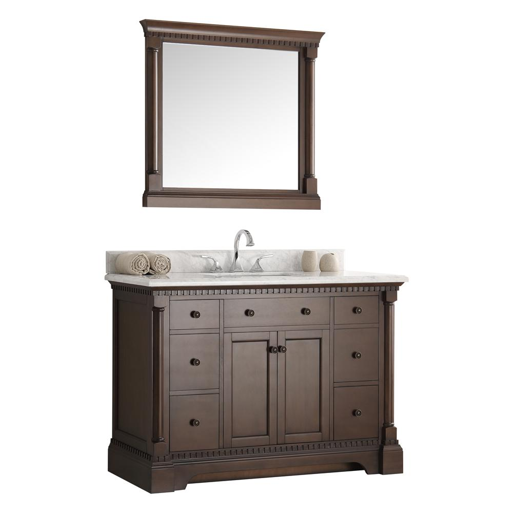 Fresca Kingston 48 in. Vanity in Antique Coffee with Marble Vanity Top in Carrera White with White Ceramic Basin and Mirror