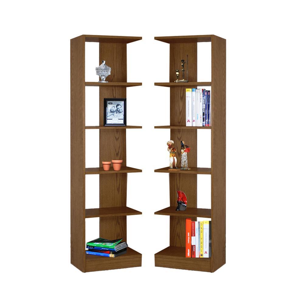 5 Shelf Wood Bookcase Towers, Set of 2, Reversible, Oak Finish