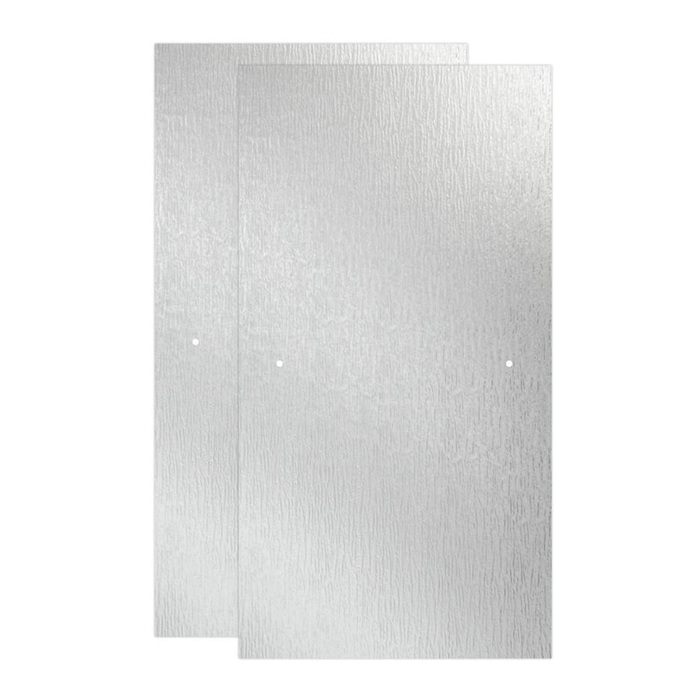 29-1/32 in. x 55-1/2 in. x 1/4 in. Frameless Sliding Bathtub Door Glass Panels in Rain (1-Pair for 50-60 in. Doors)