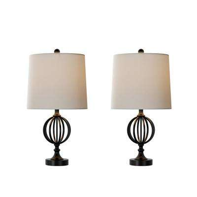 25 in. Openwork Black Iron Orb Table Lamp (Set of 2)