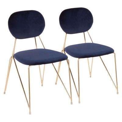 Gwen Gold with Blue Velvet Side Chair (Set of 2)