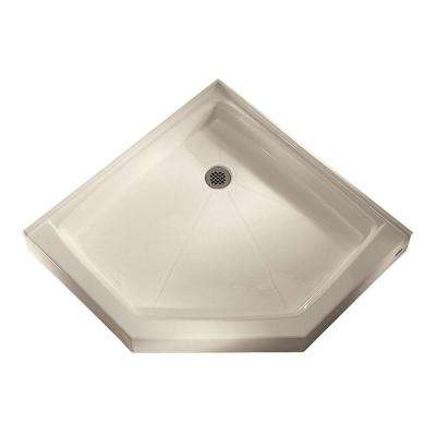 36-1/4 in. x 36-1/8 in. Triple Threshold Neo-Angle Corner Shower Base in Linen