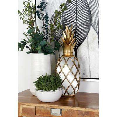 19 in. Pineapple Polystone and Mirror Decor with Gold Accent