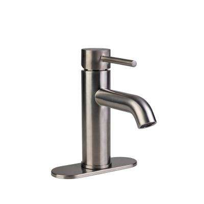 Contemporary 4 in. Centerset 1-Handle High-Arc Bathroom Faucet in Brushed Nickel