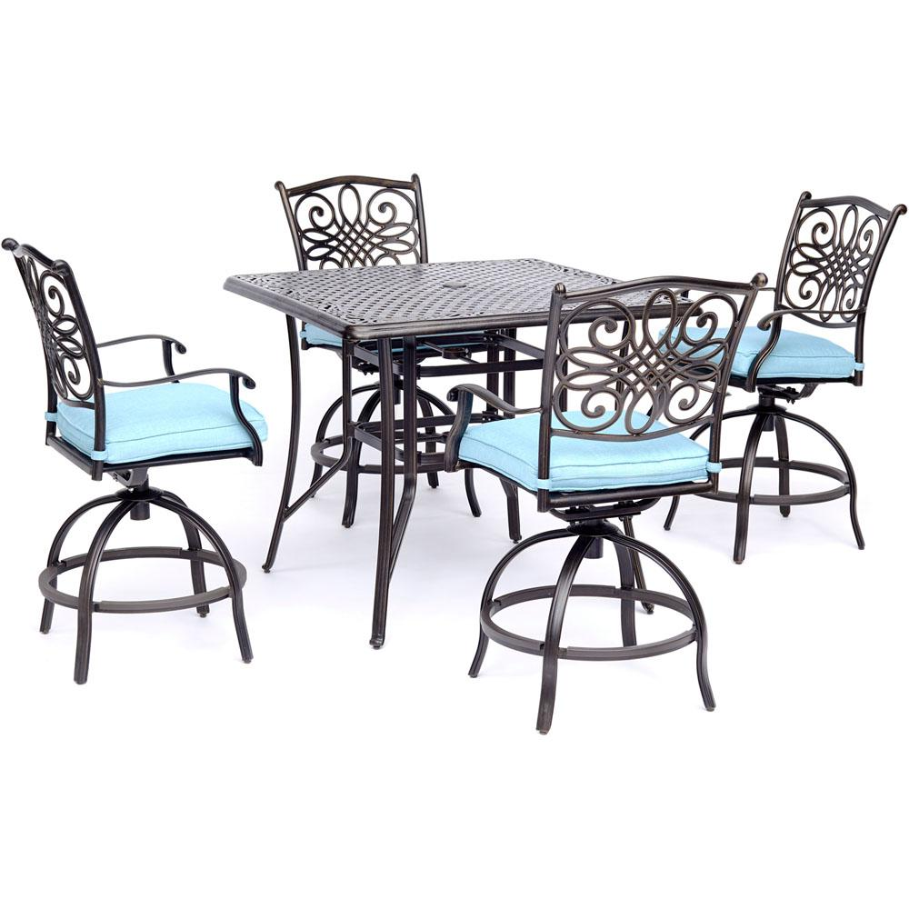 High Chair Dining Set: Hanover Traditions 5-Piece Aluminum Outdoor High Dining