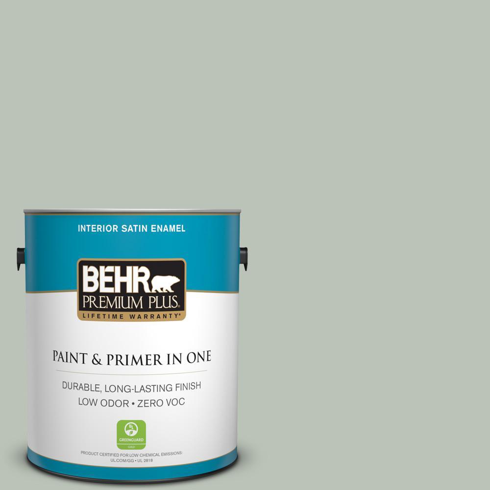 1 gal. #PPU11-11 Summer Green Zero VOC Satin Enamel Interior Paint
