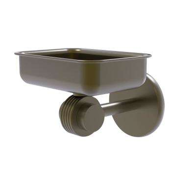 Satellite Orbit 2-Collection Wall Mounted Soap Dish with Groovy Accents in Antique Brass