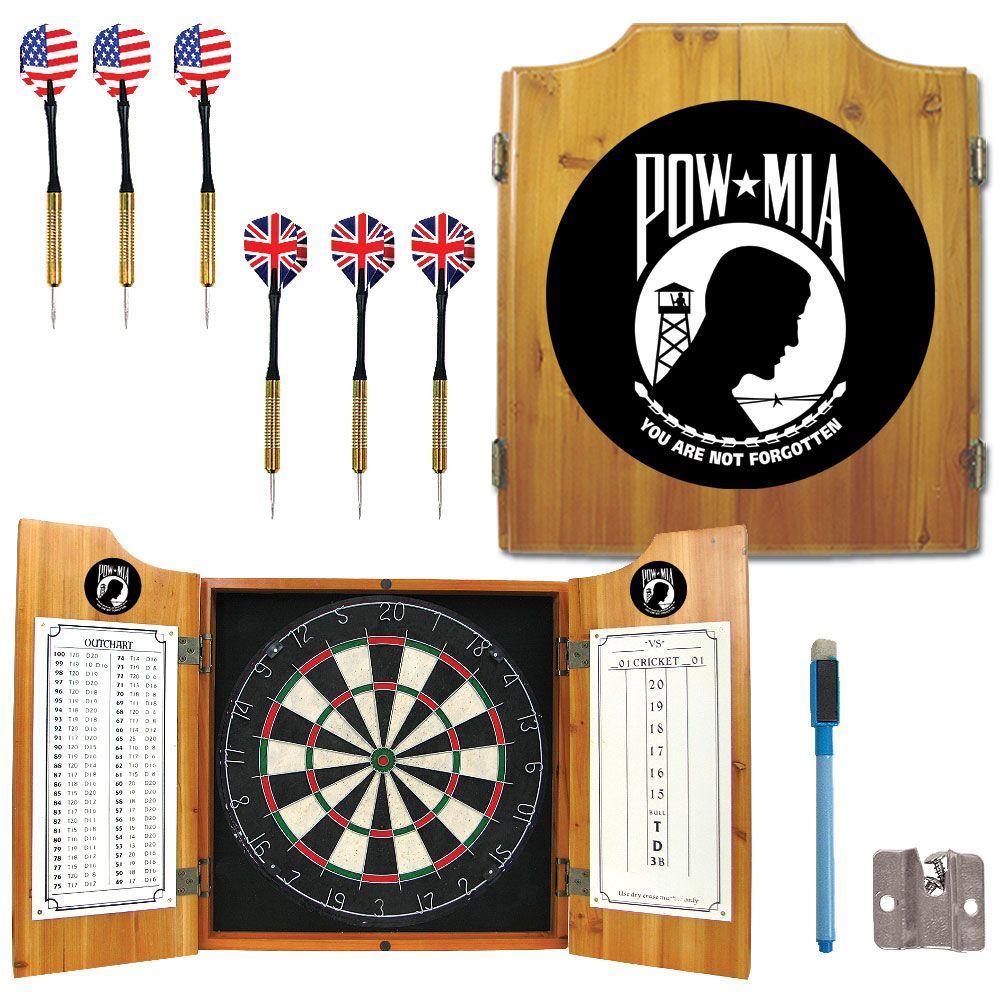 POW Wood Finish Dart Cabinet Set