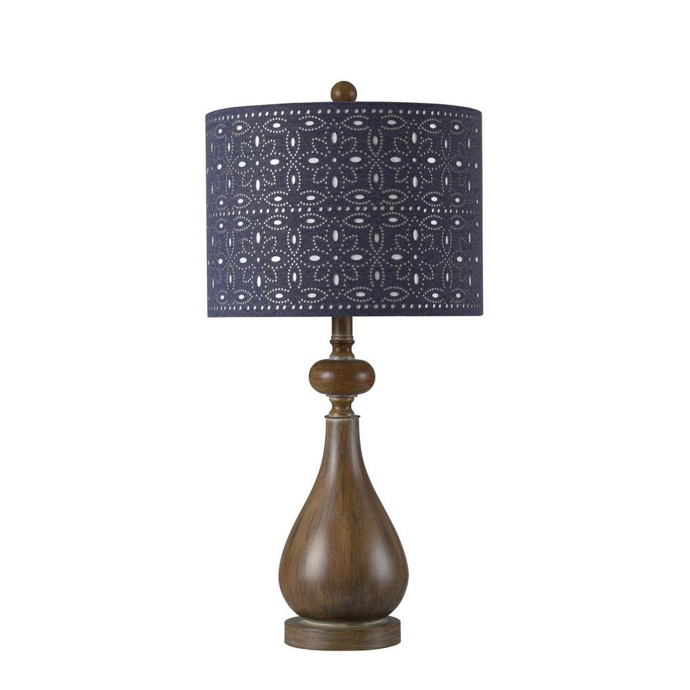 Stylecraft 26 25 In Brown Faux Wood Table Lamp With Blue Chamray Fl Design Hardback Fabric Shade