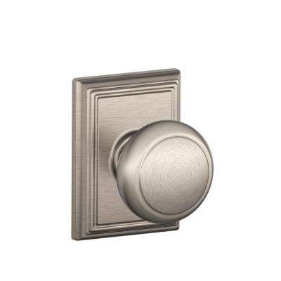 Andover Satin Nickel Passage Hall/Closet Door Knob with Addison Trim