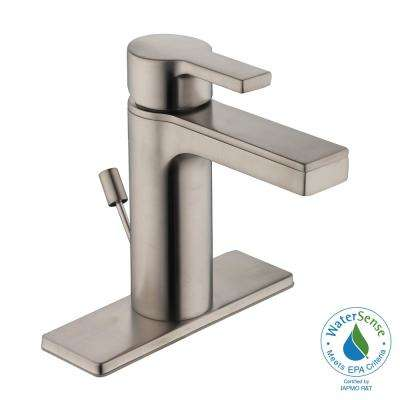 Modern Contemporary 4 in. Centerset Single-Handle Low-Arc Bathroom Faucet in Brushed Nickel