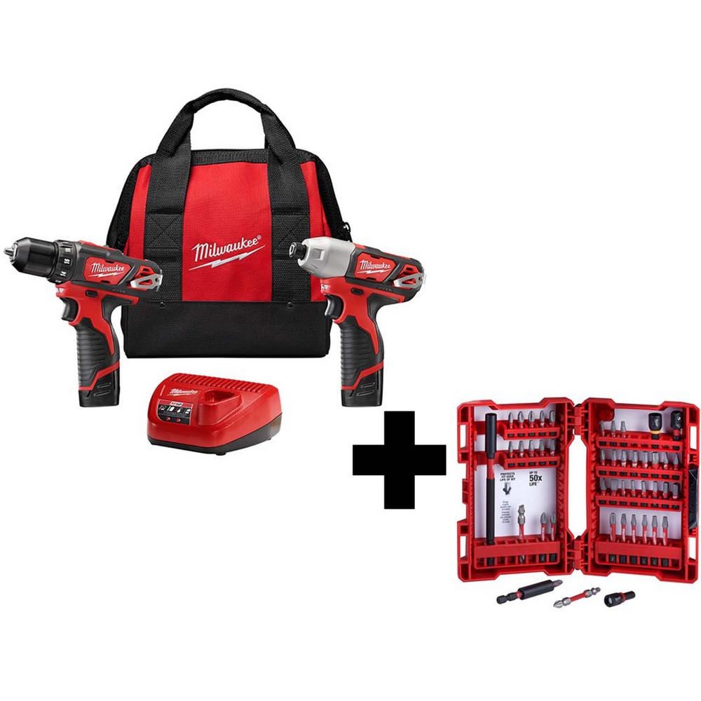 Milwaukee M12 12-Volt Lithium-Ion Cordless Drill Driver/Impact Driver Combo Kit (2-Tool) with SHOCKWAVE Driver Bit Set (45-Piece)