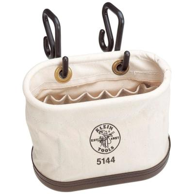 Canvas Bucket, 15-Pocket Aerial Oval Bucket with Hooks