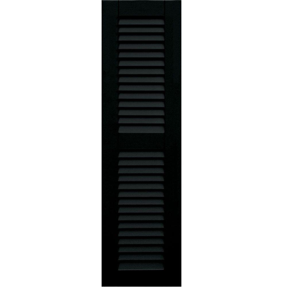 Wood Composite 12 in. x 43 in. Louvered Shutters Pair #653 Charleston Green