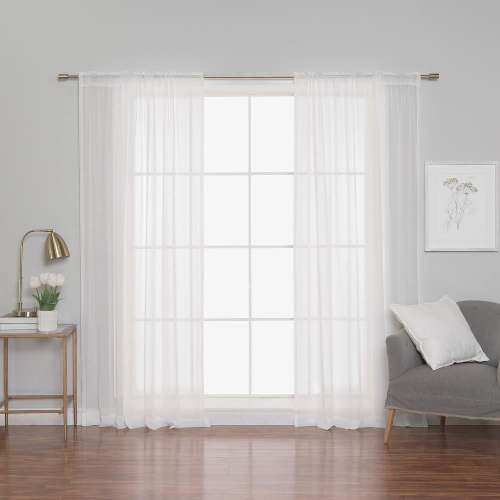 l polyester chiffon sheer curtains 2 pack - White Sheer Curtains