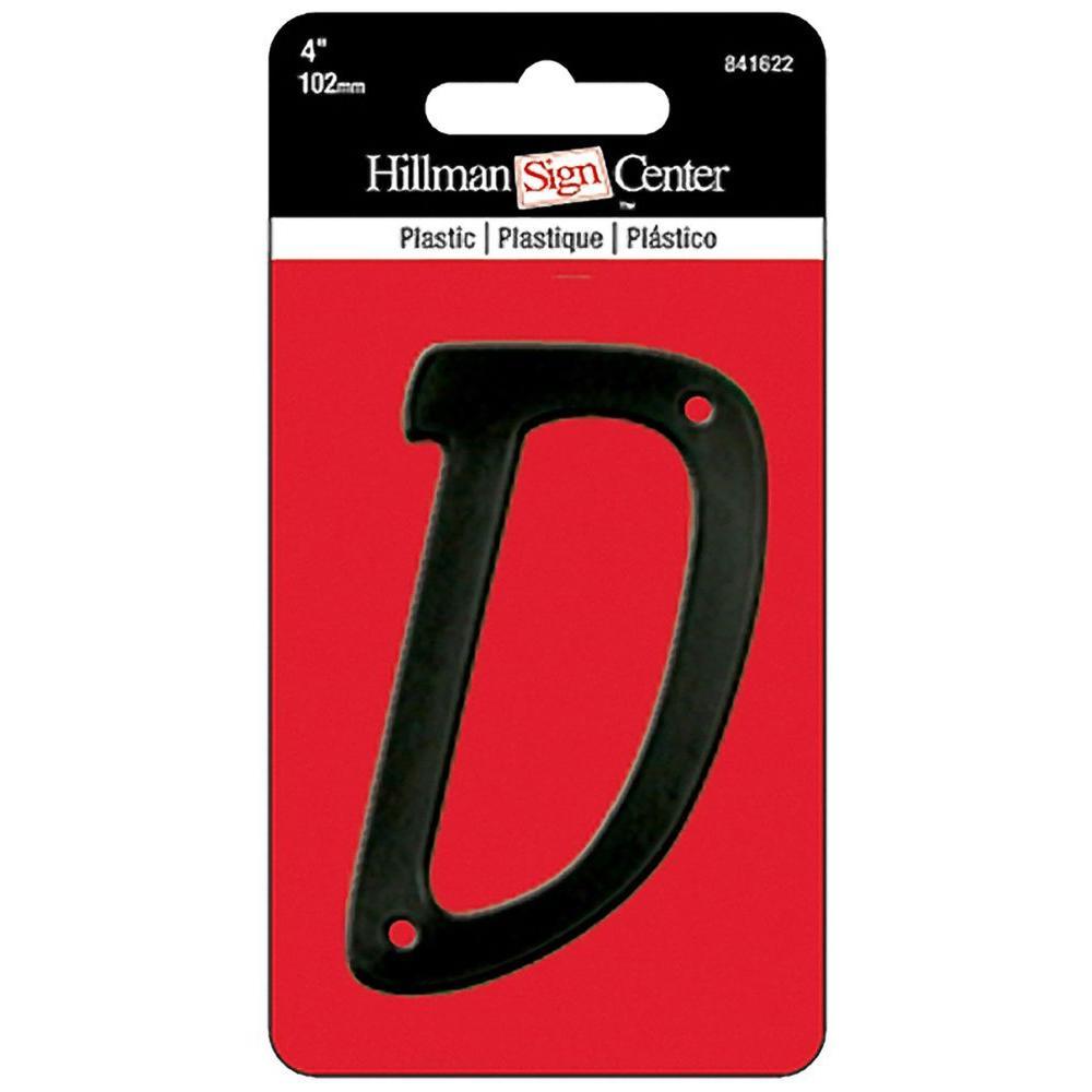 4 in. Black Plastic Letter D