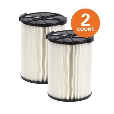 1-Layer Standard Pleated Paper Filter for Most 5 Gal. and Larger RIDGID Wet/Dry Shop Vacuums (2-Pack)