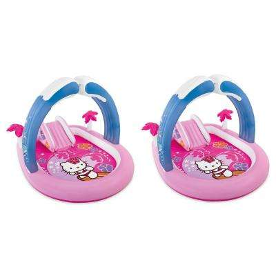 Hello Kitty Play Center 83 in. x 47.5 in. D Round Inflatable Kiddie Playset Swimming Pool (2-Pack)