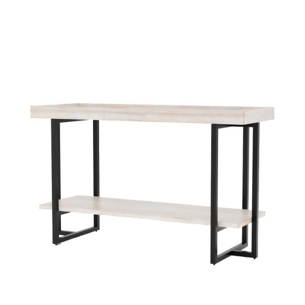 Triblisi 30.5 in. H Antique White and Black Sofa Table