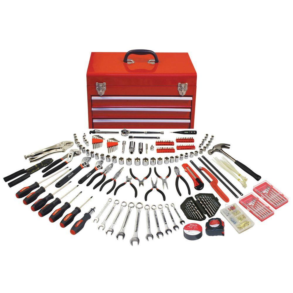 Apollo 297-Piece All Purpose Mechanics Tool Kit in 3-Drawer Steel Tool Box
