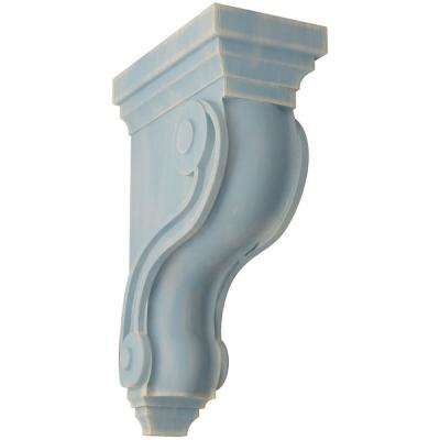 3 3/8 in. x 10-1/2 in. x 6-1/2 in. Driftwood Blue Boston Traditional Scroll Wood Vintage Decor Corbel