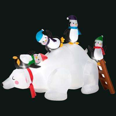 77.95 in. L x 35.04 in. W x 57.09 in. H Inflatable Polar Bear and Penguin