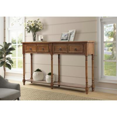 Brown Rectangular Console Table with Drawers and Shelf