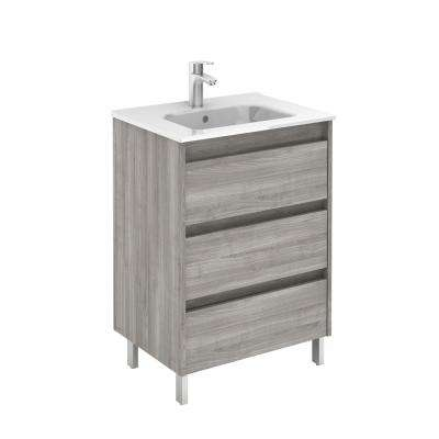 Sansa 24 in. W x 18 in. D Bath Vanity in Sandy Grey with Ceramic Vanity Top in White