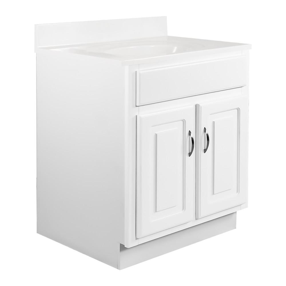Design House 24 in. x 21 in. x 30 in. 2-Door Bath Vanity in White with Solid White Single Hole Cultured Marble Vanity Top with Basin