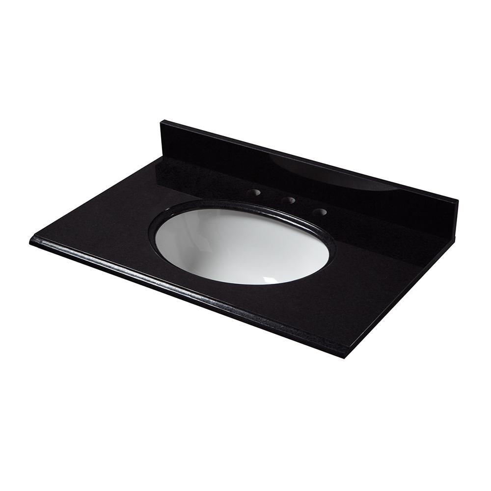 31 in. W x 22 in. D Granite Vanity Top in Black with White Basin