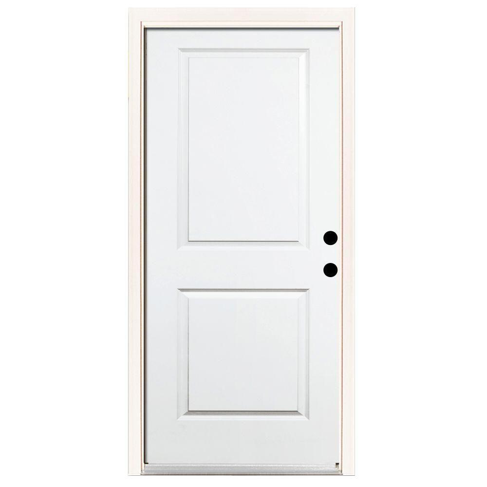 Steves & Sons Premium 2-Panel Square Top Primed White Steel Prehung Front Door with Brickmold-DISCONTINUED