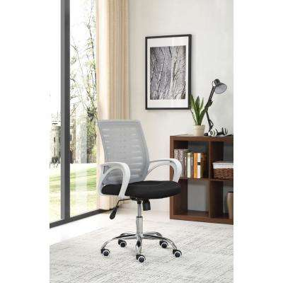 Adjustable Mid-Back Mesh Swivel Desk Grey Chair with Chrome Base