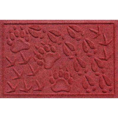Aqua Shield Animal Tracks Red/Black 17.5 in. x 26.5 in. Pet Mat