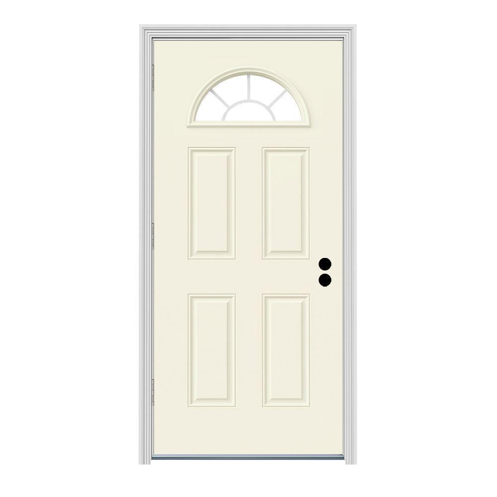 Jeld Wen 32 In X 80 In Fan Lite Vanilla Painted Steel Prehung Right Hand Outswing Front Door W