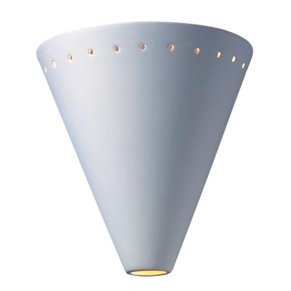 Filament Design Leonidas 1-Light Paintable Ceramic Bisque Cut Cone Sconce with Perfs