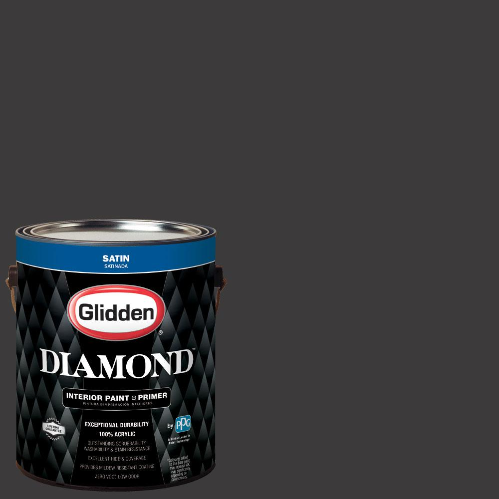 Glidden Diamond 1 gal. #nfl-169A Cincinnati Bengals Black Satin Interior Paint with Primer, Blacks
