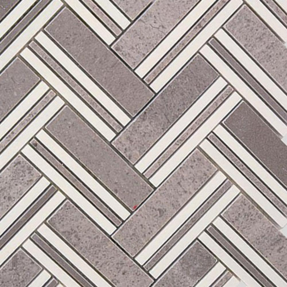 Splashback Tile Boost Lady Gray with Crystal White Line Marble Mosaic Tile - 3 in. x 6 in. Tile Sample