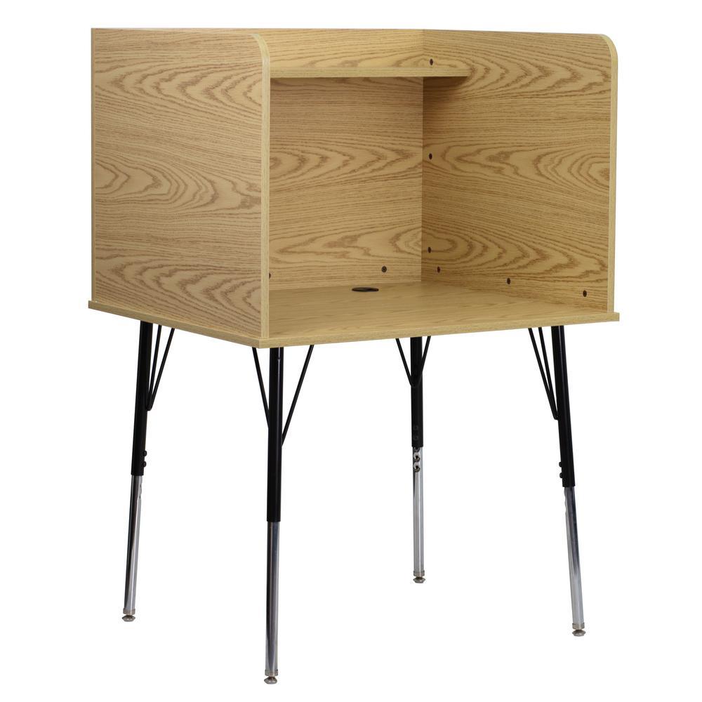Oak Finish Study Carrel with Adjustable Legs and Top Shelf