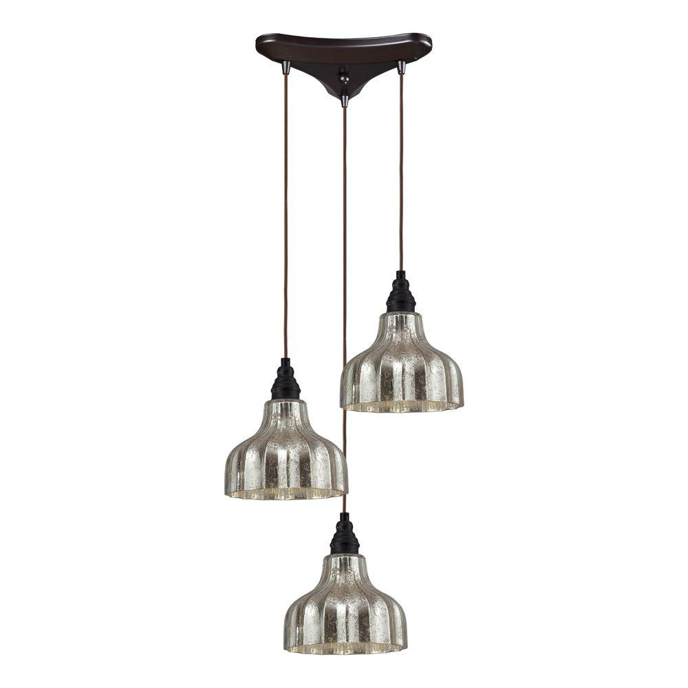 Titan Lighting Danica 3 Light Oiled Bronze Ceiling Mount Pendant