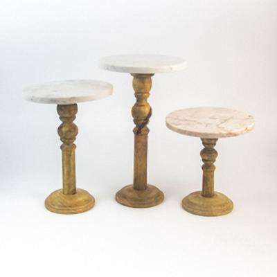 S/3 Marble and Wood Display Stands