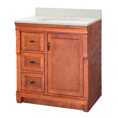 Naples 31 in. W x 22 in. D Vanity in Warm Cinnamon with Engineered Marble Vanity Top in Winter White with White Sink