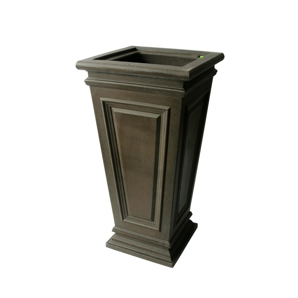 Algreen 27 in. H x 14 in. W Brownstone Tall Square Taper Covington Polyethylene Plastic Self-Watering Planter