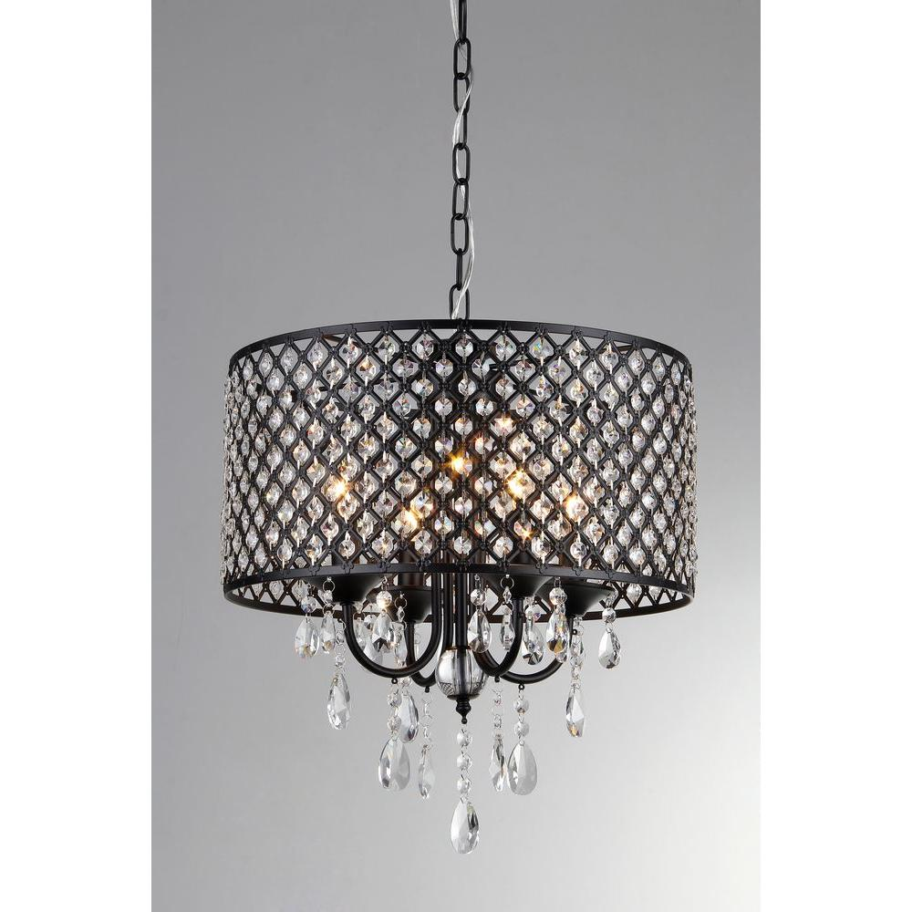 Black Indoor Drum Shade Crystal Chandelier with
