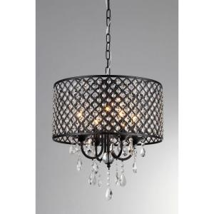 Monet 17 inch Black Indoor Drum Shade Crystal Chandelier with Shade by