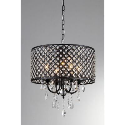 Monet 17 in. Black Indoor Drum Shade Crystal Chandelier with Shade
